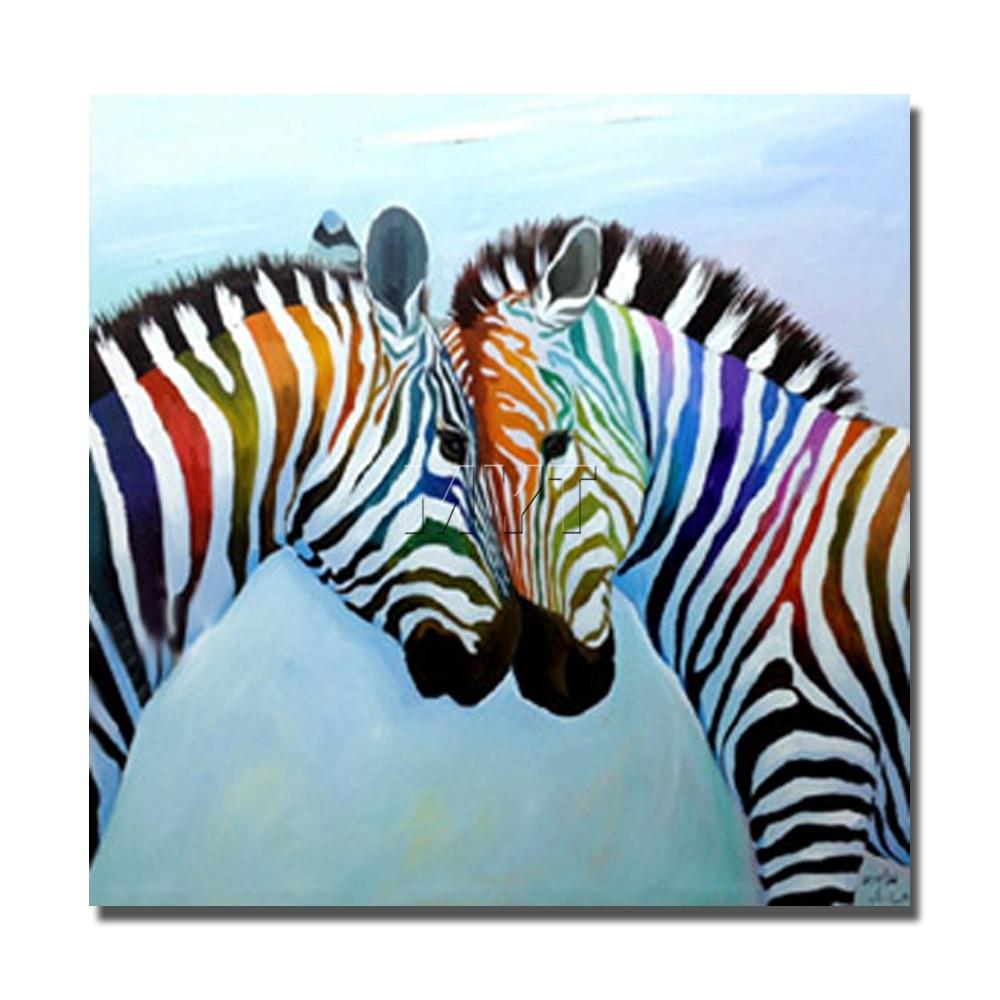 Cebra pintura al óleo sobre lienzo pintado a mano arte de la pared ...