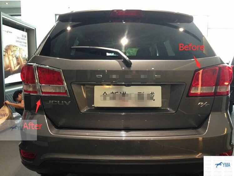 For Dodge Journey JCUV Fiat Freemont 2010 - 2014 Chrome Rear Lamp Taillight Cover Trim 4 pcs / set