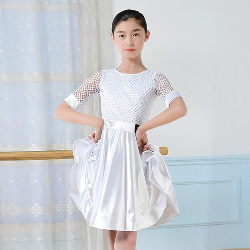 Summer New Kids Dresses For Girls White Short Sleeve Training Dance Dress Stage Wear Competition Children Dance Dress BL1688