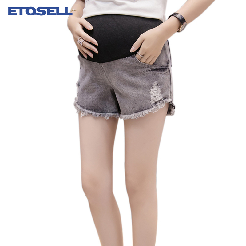 2018 Summer Denim Maternity   Shorts   for Pregnant Womens Clothing Pregnancy Cotton Clothes   Short   Belly Skinny Jeans Gravida