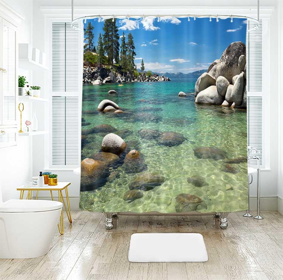 3d عرض البحر نمط دش الستائر الغروب توهج خارج نافذة الحمام الستار ثخن للماء سميكة ستارة حمام