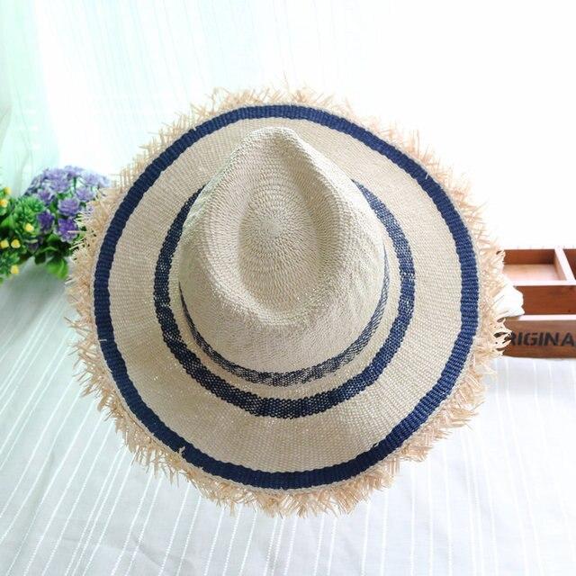 b1170311c60 sea beach Stripe Mosaic handmade handmade grass tassel fedoras hat beach  cap men women paper straw hat