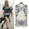 Fashion Womens T shirt Summer Short Sleeve Shirt Casual Chiffon T-Shirt Loose Cotton Tops T Shirt printing Plus Size S - XXL 60B