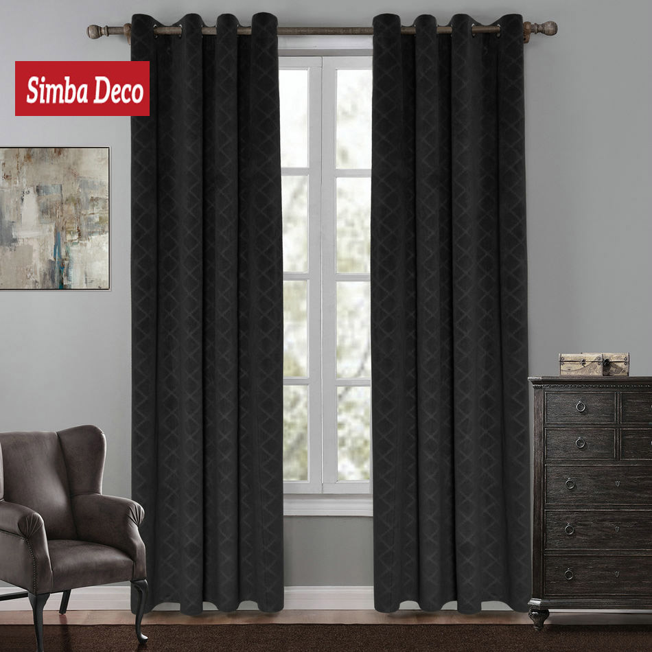 Black curtains bedroom - Velvet Solid Blackout Curtains For Bedroom Blind Luxury Black Drape For Living Room Modern Window Shade