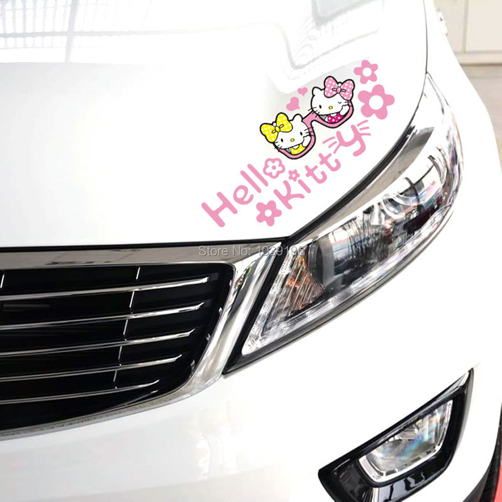 "One Pcs Hello Kitty Car Eyebrow Cute Vinyl Decal Sticker Motors New 11/""×3/"""