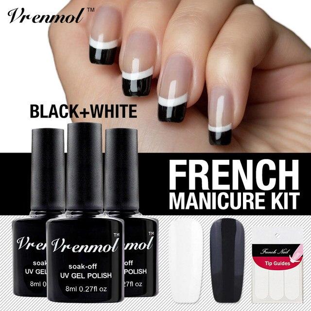 Vrenmol 2pcs UV Nail Gel Polish French Manicure Set Art Soak Off Black White