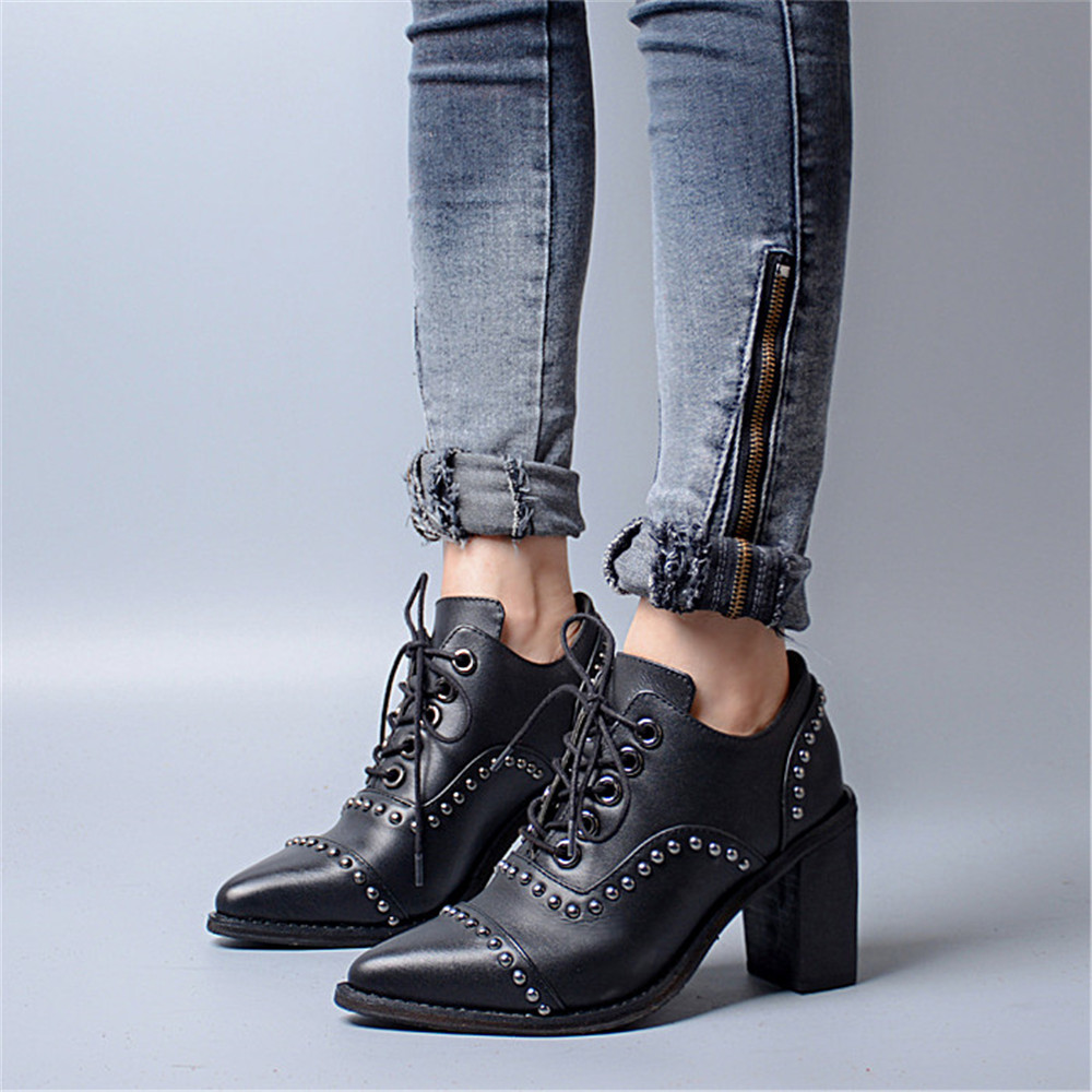 Choudory Rivets Shoes Woman Pumps Genuine leather Square High Heel Pointed Toe Lace Up Riding Zapatos Ladies Casual Boots Ankle