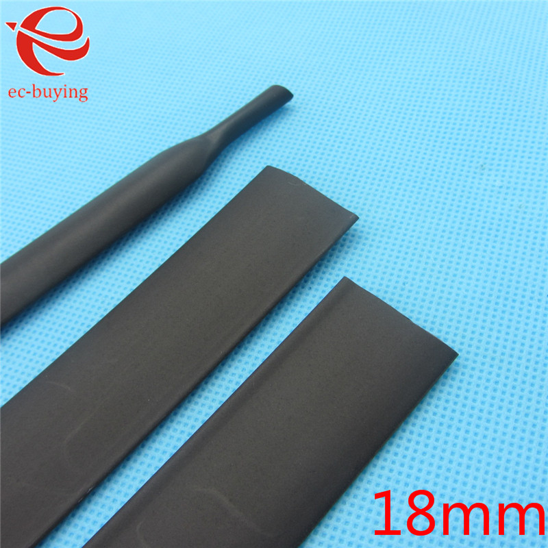 1m Heat Shrink Tubing 18mm Heatshrink Black Tube Inner Diameter Wire Wrap Cable Kit