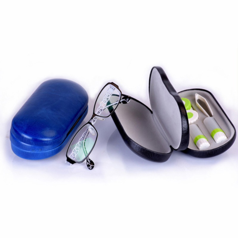Double Interlayer With Mirror Metal Lens Case For Kit Box Dual Purpose Lentes De Contacto New Leather Reading Glasses Case