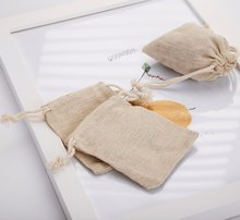 Personalized Cotton Linen Drawstring Gift Bags 8x10cm 10x15cm Small Wedding Favor Custom Logo Chic Pouches