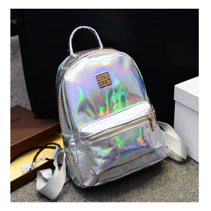 New Arrival Hologram Laser Backpack Girl School Bag Women Rainbow Colorful Metallic Silver Laser Holographic Backpack, MF1619