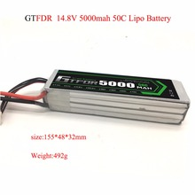 GTFDR 14.8V 4S 5000mAh 50C 100C RC LiPo Battery Batteries for Helicopter Quadcopter Boat Car Slash 4X4 Ultimate tcb rc drone lipo battery 4s 14 8v 2200mah 25c for rc airplane car helicopter akku 4s batteria cell free shipping