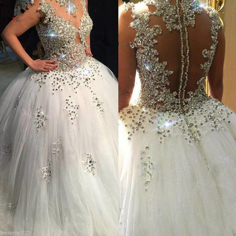 Vestido De Noiva 2018 Wedding Dress Long Ball Gown Sparkly Beaded Crystal Saudi Arabic Wedding Gown Bridal Dresses Trouwjurk