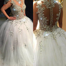 Vestido De Noiva 2018 Wedding Dress Long Ball Gown Sparkly Beaded Crystal Saudi Arabic Bridal Dresses Trouwjurk