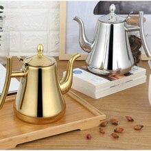 Модный чайник золотистого и серебристого цвета с фильтром, отельный чайник, 304 чайник из нержавеющей стали, чайник для воды, 1л/1.5Л/2л