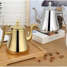 Модный чайник для чая золотого и серебряного цвета с фильтром