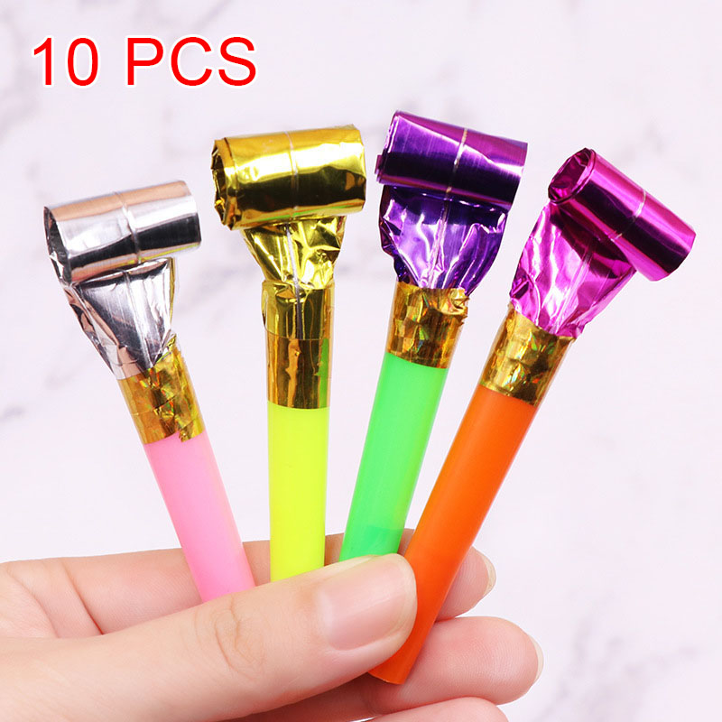 10 Pcs/Set Funny Blowouts Whistles Birthday Party Blow Outs Wedding Celebration Noice Maker Kid Toys HFing
