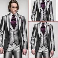 Slim Fit Men's Suit Set Silver Gray Mansions Peak Lapel Wedding Dinner Set Best Men's Suit (Jacket + Pants + Tie + Vest)