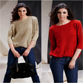 2015 Promotion Regular O-neck Cardigan Women Winter Hot Large Size Women's Loose Rivet Round Neck Pullover Sweater Knitted Bat