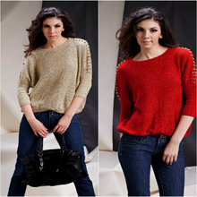 2015 Promotion Regular O-neck Cardigan Women Winter Hot Large Size Women's Loose Rivet Round Neck Pullover Sweater Knitted Bat