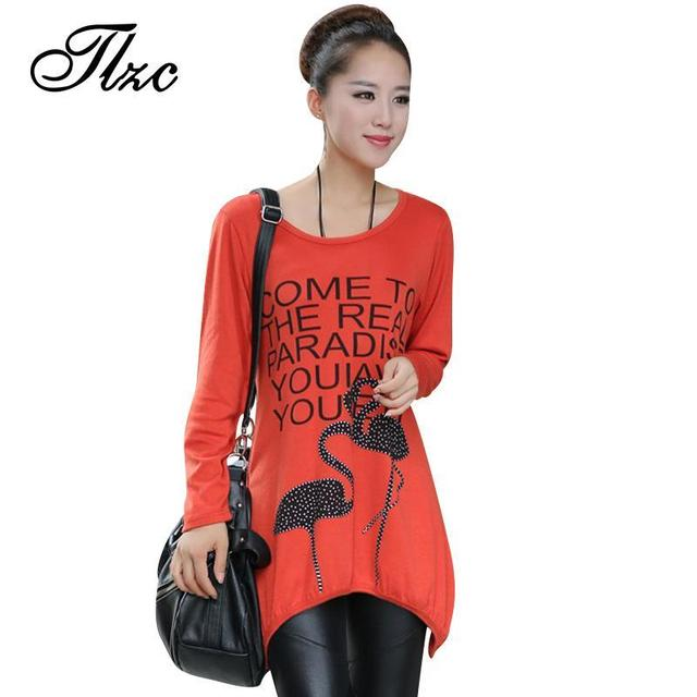 TLZC 2017 New Cheap O-neck Long Sleeve Cotton Women Long T-Shirts Plus Size L-XXXXL Lady Casual Tees Black / Orange