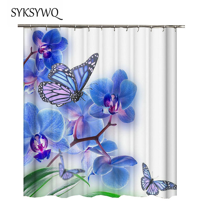 Blue Shower Curtain Butterfly Bathroom Flower Rideau De Douche 3D Waterproof Cortina Ducha Fabric