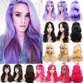 Cheap Long Curly Wavy Synthetic Hair Wig Shiny Pink Purple Orange Red Cosplay Party Anime Show Full Wigs Free Shipping