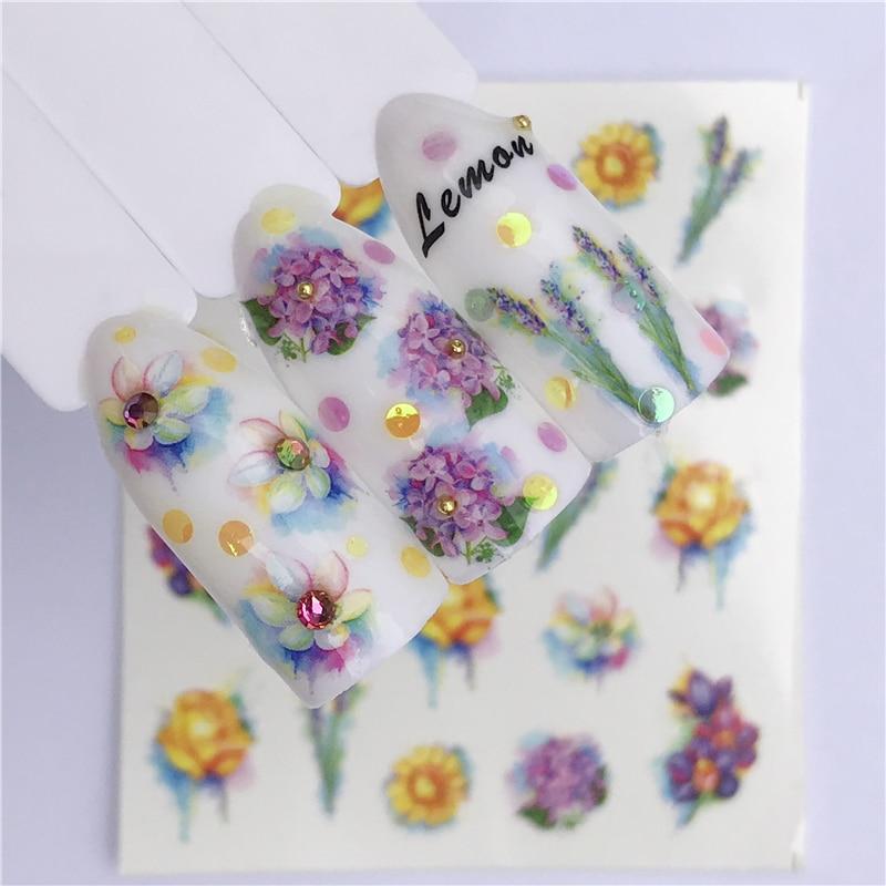 1 Sheet Nail Sticker Summer Water Transfer Decals Fruit/Ice Cream/Cartoon /Flower Design Temporary Tattoos Slider Tips