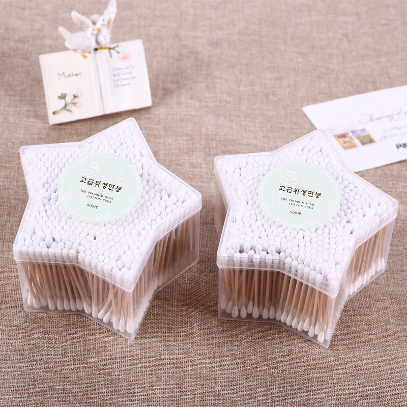 Korean 500pcs/Lot Cotton Swabs Wood Cotton Stick Makeup Tools Health Star Boxed цена