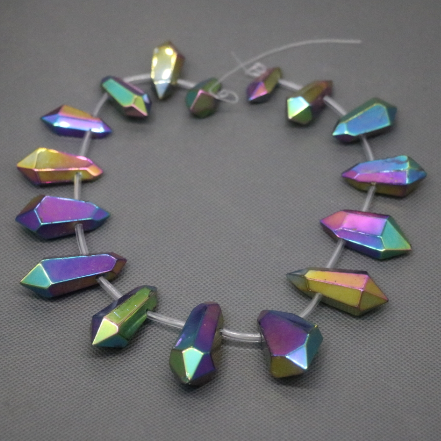 White Rainbow Crystal Quartz Beads Top Drilled Polish Point Pendant Rock Fashion Women Fine Jewelry Necklace Stone Kindgems in Pendants from Jewelry Accessories