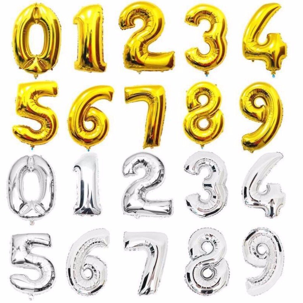 16 32 Inch Number Foil Gold Silver Blue Digital Globos Balloons For Wedding Birthday Party Decoration 5
