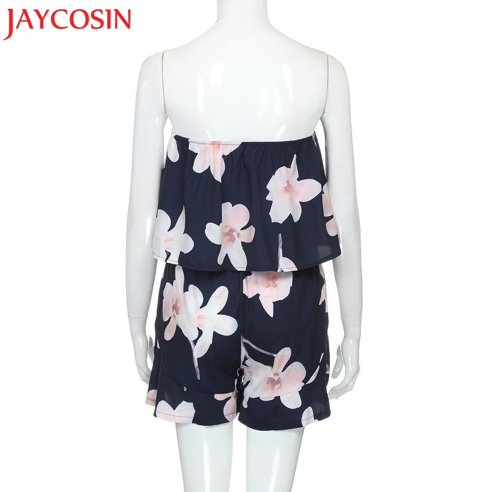 2020 Summer Womens Off Shoulder Floral Print Holiday Mini Playsuit Ladies Shorts Jumpsuit Y7718