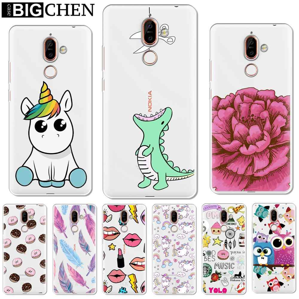 BIGCHEN Soft Silicone TPU Phone Case Cover For Nokia 1 3 5 8 6 2 7 Plus 9 X6 2.1 3.1 5.1 6.1 2018 Phone Back Cases Coque etui