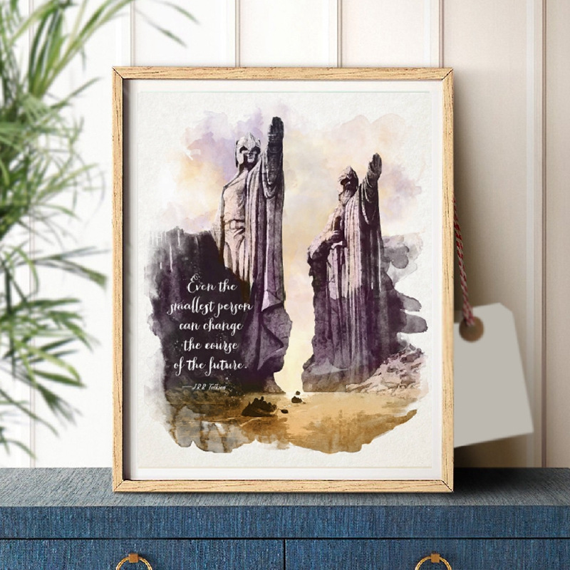 Lord Of The Rings Quote Wall Art Canvas Print Watercolor Tolkien Classic Movie Poster Art Painting Living Room Home Wall Decor