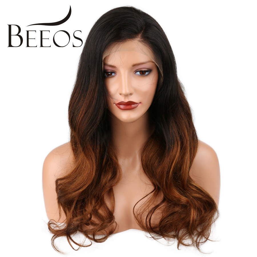 BEEOS Corps Vague Ombre Full Lace Perruques de Cheveux Humains Avec Bébé cheveux Brésiliens Non Remy Cheveux Pour Femmes Pré Pincées Toute La Main attaché