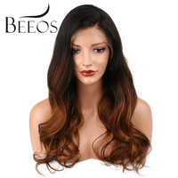 BEEOS Body Wave Ombre Full Lace Human Hair Wigs With Baby Hair Brazilian Non Remy Hair For Women Pre Plucked All Hand Tied