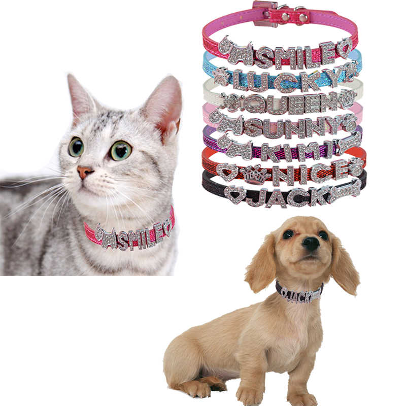 Hot Sale Pet Personalized Collar 10MM Bling Leather Free Name Customized  Cat Dog Puppy Pet Name a524469c0546