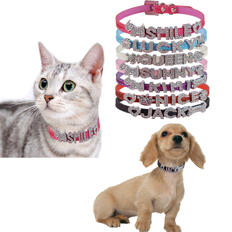 Hot Sale Pet Personlig krage 10MM Bling Läder Gratis Namn Anpassad Katt Hund Puppy Pet Name Collar