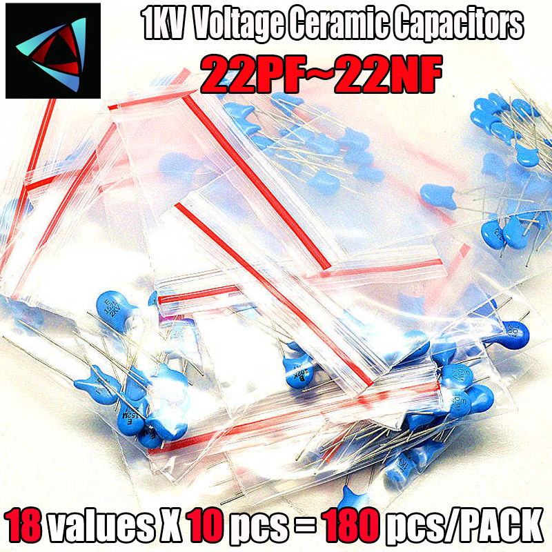 180PCS/LOT High Voltage Ceramic Capacitors Assortment Assorted Kit 18 ValuesX10pcs 1KV 2KV 3KV 22pf~22nf Capacitance Kit image