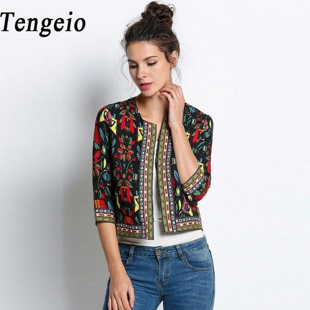 Осень женщины основные пальто Ретро Vintage Этническая Куртка Цветочный Печати Вышитые Короткая осень Куртка Тонкий Пальто Chaquetas Mujer 10SJM