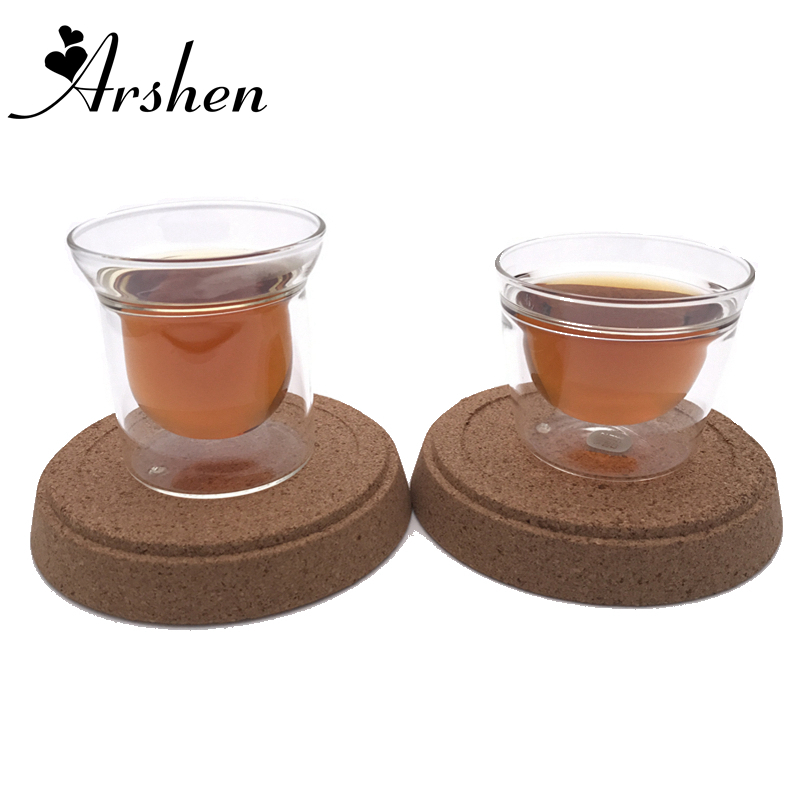 Arshen Two Design 80ml Double Wall Clear Handmade Heat Resistant Tea Cup Coffee Drink Insulated Glassware Healthy Drink Cup