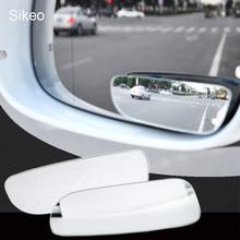 2 uds espejo de punto ciego de coche 360 grados ajustable gran angular convexo espejo retrovisor de aparcamiento de coche espejo retrovisor redondo largo
