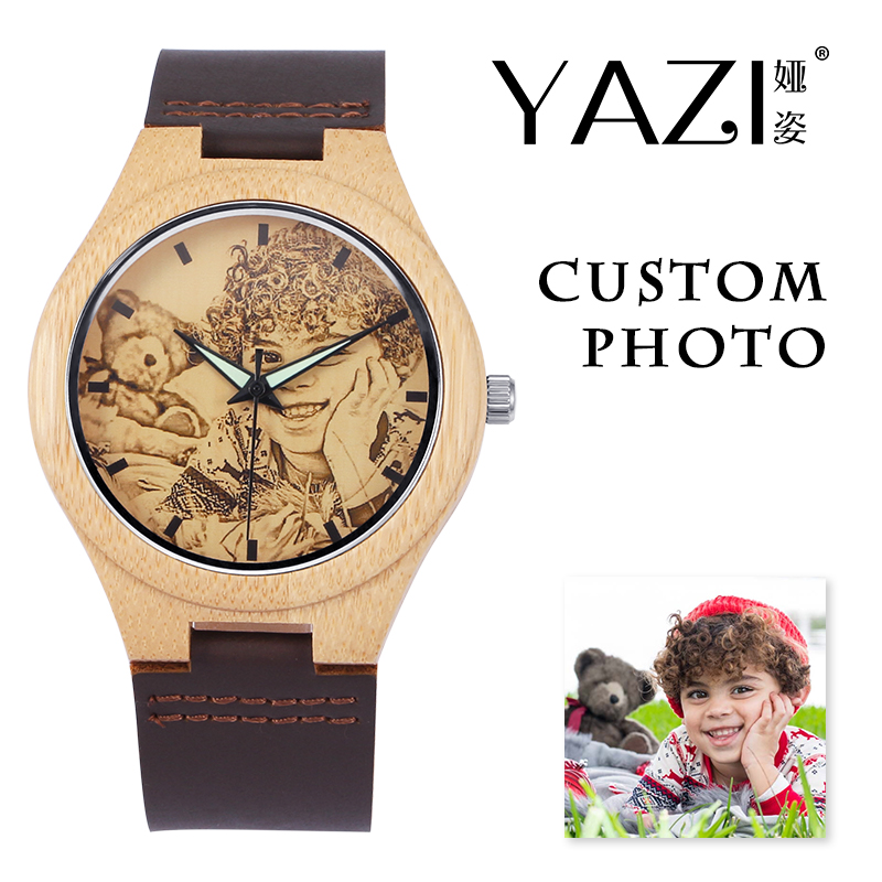 YAZI Personal Custom Photo Wooden Watch Print Your Own Sketch Design Wrist Watch Nature Bamboo Wood Case Genuine Leather Watches