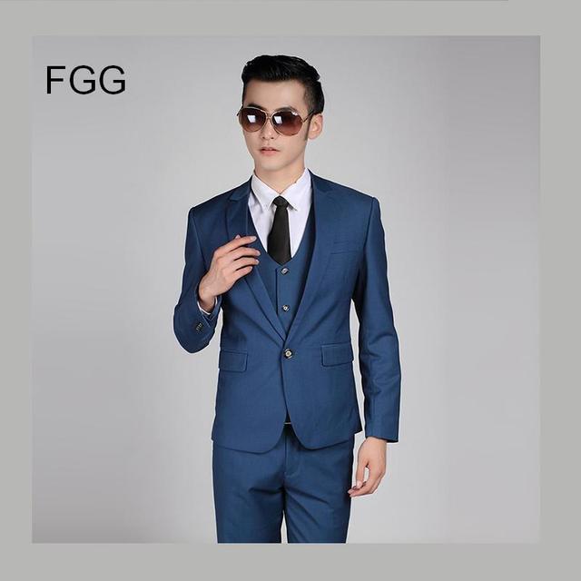 Men Fashion SIngle Button Formal Suits Work Wear Business Mens Wedding Royal Blue Tuxedo Suit Terno Masculino Slim Fit Casamento