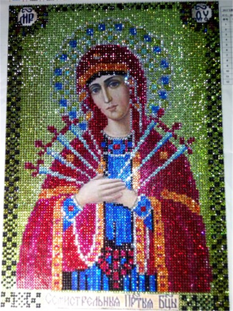 Peinture diamant diamant, icône religieuse en cristal, points de croix, broderie, véritable religieuse, en strass, cadeau, mosaïque, à faire soi-même, 2018