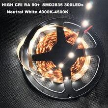 Светодиодная лампа «сделай сам», яркий CRI RA 90 + светодиодная ленсветильник 2835SMD 12 В постоянного тока, 5 м, светодиодный, s, неводостойкая, нейтральный белый, 300 K, светодиодная лампа для дома