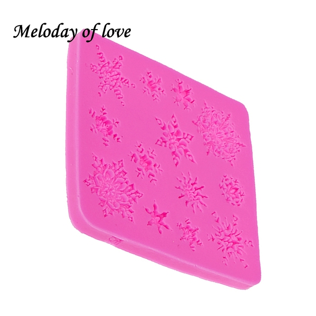 3D christmas decorations snowflake Lace chocolate Party DIY fondant baking cooking cake decorating tools silicone mold T0026
