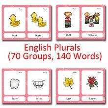 70 групп имя существительное английский плюралы дети Монтессори английское слово карманные карточки игры обучение Развивающие игрушки для детей игры