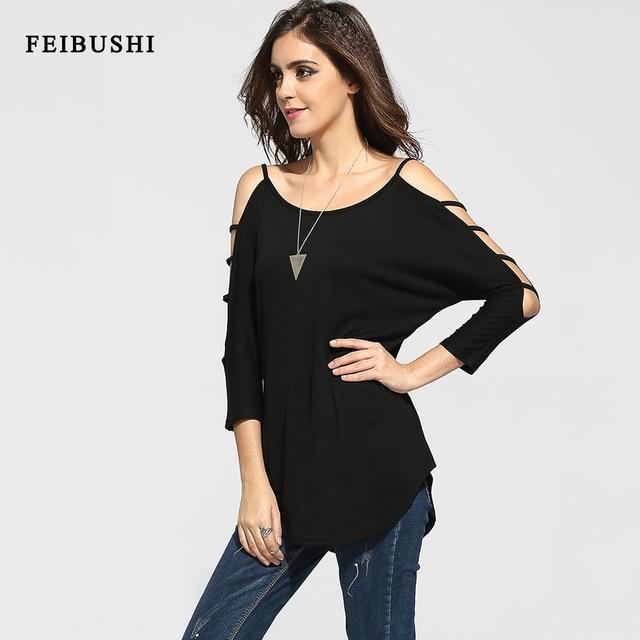 Feibushi verano de las mujeres de moda elegante negro sin tirantes atractivo ahueca hacia fuera casual hombro superior abierta llanura camisa vestidos