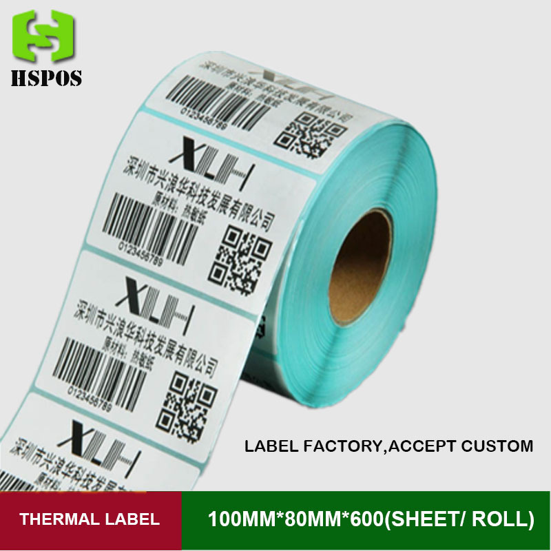 Label sticker 100mmx80mm 600pcs one roll self adhesive thermal printer paper printing papel can customized logo supermarket direct thermal printing label code printer